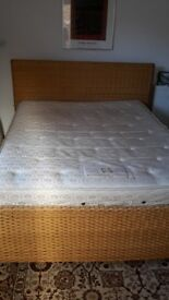 King Size Double Bed , Wicker Frame & Mattress - DELIVERY AVAILABLE