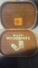 2x vintage tin tobacco trays