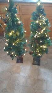 Two Christmas trees 48 inches high with white lights $20 each
