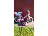 "Girls 14"" ""Hello Kitty"" Bike with Helmet (hardly used)"