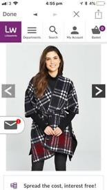 Belted fleece check cape size 12