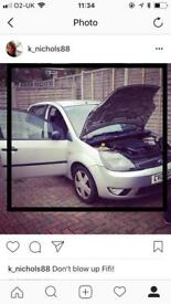 Silver Ford Fiesta 2002 spares or repairs.