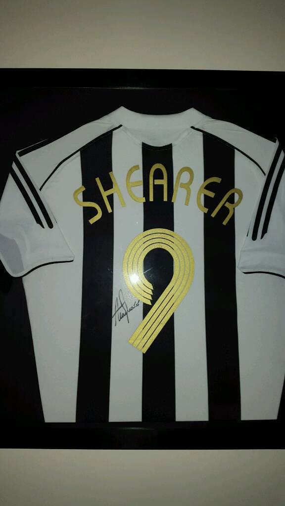 Framed and signed alan shearer testimonial shirt