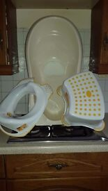 Baby bath, toilet seat and step