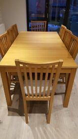 IKEA extending table and 8 chairs in Oak finish