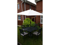 Garden table, 4 chairs and parasol set