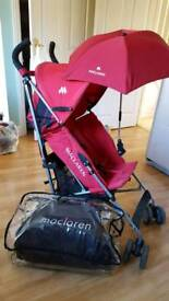 Maclaren pushchair with parasol and travel bag