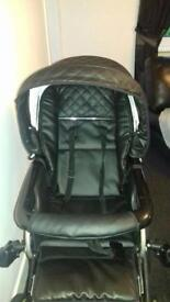 Vib Limited Edition black leather pram (cosy toes/car seat/ buggy etc)