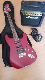 Squier Stratocaster electric guitar, case & Marshall MG10CD Amplifier