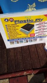 50 large white floor tiles plus grout and plastic ply