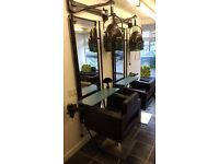 Complete salon units and chairs for sale 5xunit and chairs 1x back basin chairs, 2x hood dryers