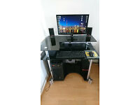 Black Glass and Chrome Computer Desk *As New*