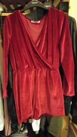 Topshop Velvet Red Wrap Front Playsuit size 14