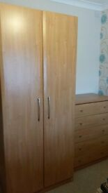 Modern beech wardrobe and matching chest of drawers