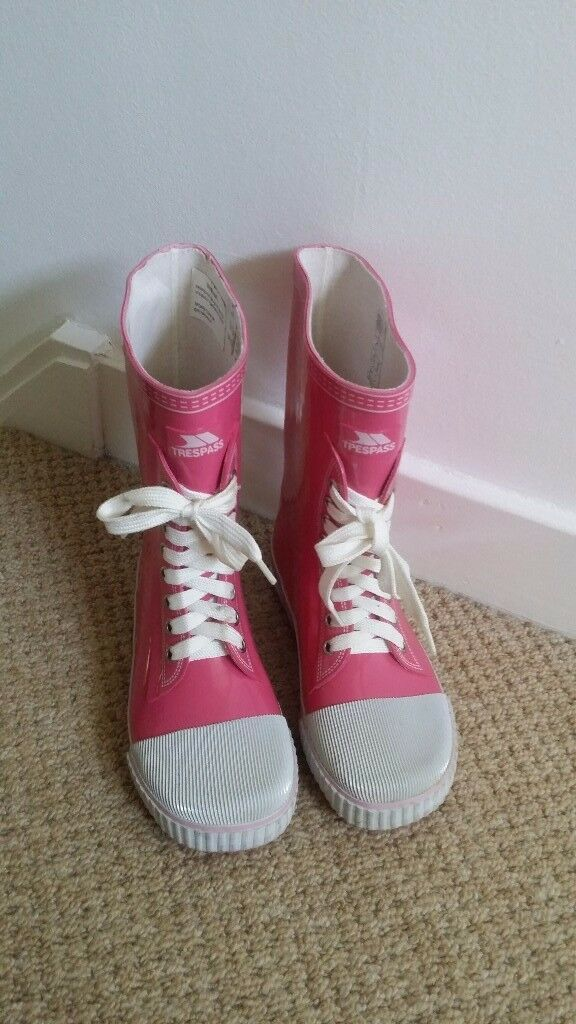 Trespass Splish girls wellington boots - pink, size UK 2 / EUR 34
