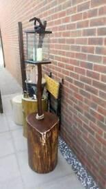 Log lantern ready side table