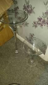 """Wedding center piece, 24"""" tall glass & is 12"""" tall glass"""