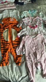 3-6 month girls sleep suits/rompers