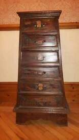 Occasional dark wood painted drawer unit