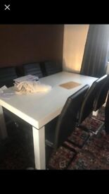 Large white gloss table and six leather chairs