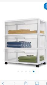 Plastic storage drawer unit