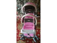 Graco dolls double pushchair pram pink reborn dolls