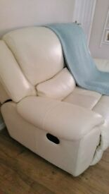Sofology cream leather reclining 2 seaters 2 sofas