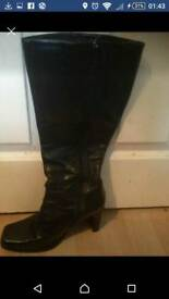 Size4 black leather knee high boots