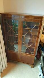 Teak Repro Display Cabinet with lower Storage