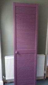 single louvre door (Ex airing cupboard door) painted purple. 1970mm x 534mm