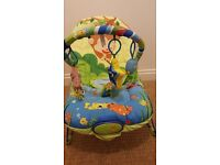 Baby Bouncer Chair with Soothing Music, Vibration & Toys
