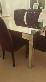 Mirrored Table With Six Velvet Diamond Studed Chairs