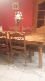 Sheesham wooden Table and six chairs