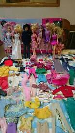 Barbie, dolls and clothes bundle