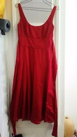 Red silk dress by Monsoon, size 6