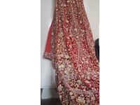 LONG TRAIL ASIAN WEDDING DRESS LENGHA