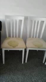 BARGAIN!! TWO SOLID WHITE WOOD CHAIRS