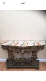 Gold Cherub Consul/Hall/Side Table