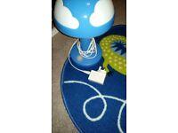 Ikea child's nursery lamp and rug