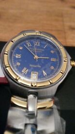 BRAND NEW Krug Baumen 2615DM Regatta 4 Diamond Blue Dial Two Tone Man's Watch