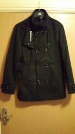 Mens Military style black coat