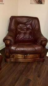Dark oak and leather 3 seater and chair