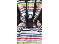 Excellent condition Mamas & Papas Sola pram, in grey denim, stripe interior with accessories