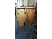 Pair of Stagg Conga drums with stands