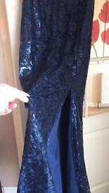 Blue sequin evening dress