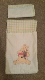 New Disney Pooh Bear cot /bed quilt cover and pillow case
