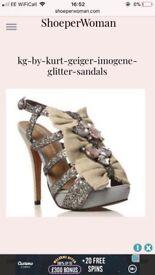 Kg by Kurt Geiger Imogene silver heels size 5