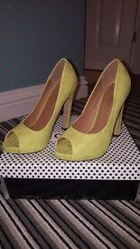 Lime green suede heels