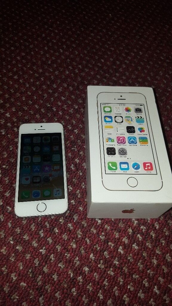 APPLE IPHONE 5S WHITE 16GB AND MINT AND WITH BOX ON EE, T-MOBILE AND ORANGE NETWORK