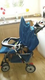 Disney Pushchair, including rain cover and cow patterned footmuff